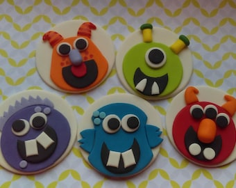 Fondant Edible Monster Cupcake Toppers Set of 12