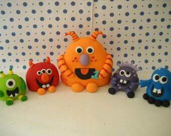Fondant Edible Monster Edible Cake Toppers -  Set of 5