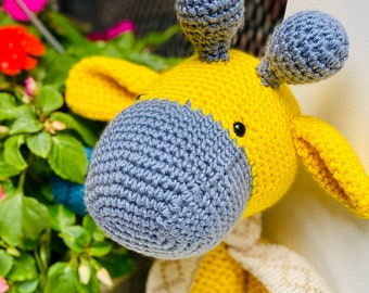 Handmade stuffed large crochet giraffe toy, crocheted plushie birthday gift amigurumi, plush Giraffes, gender reveal or baby shower gift