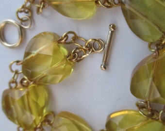 Man Made Citrine Faceted Hearts Chain Link Bracelet
