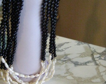 Vintage White Pearl and Black Onyx Multistrand Necklace