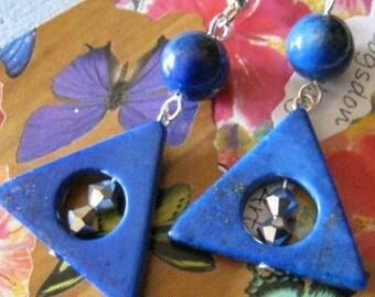Lapis Lazuli Triangle Earrings