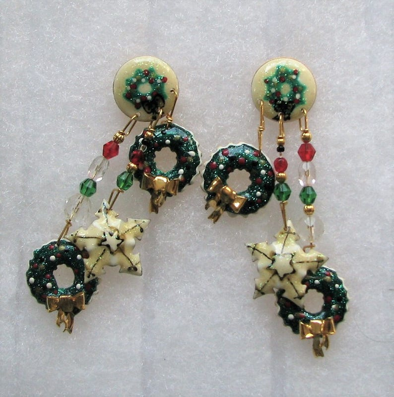 3c464f8355d55 Lunch At The Ritz Christmas Wreath Earrings POST   Etsy