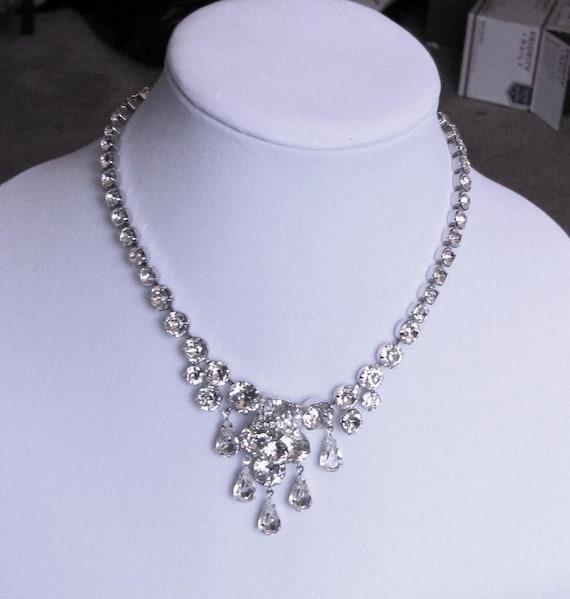 Eisenberg Crystal Rhinestone Necklace w/Pear Rhine