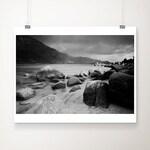 Black and white Sand Harbor print, Lake Tahoe photograph, California print, wilderness art, large wall art