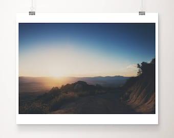 mountain road photograph, Mt Woodson sunrise print, California print, wilderness print, mountains photograph, San Diego print