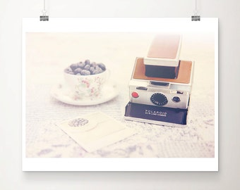 SALE blueberry print, vintage camera photograph, discounted food photography, still life print