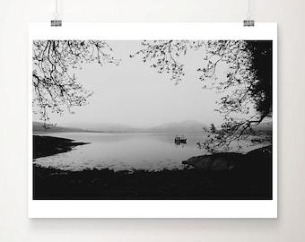 SALE black and white Loch Creran photograph, Scotland boat print, Scottish mountains wall art, tree photograph, discounted 11x14 print
