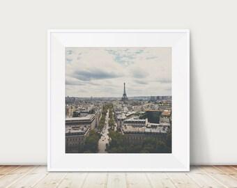 Paris photograph, Eiffel Tower photograph, Paris rooftops print, large wall art, Aerial Paris print, Paris decor, travel photography