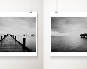 black and white Lake Tahoe print set, Lake dock photograph, nautical decor, dark wall art, mountains photograph, California print