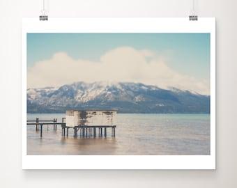 SALE Lake Tahoe print, mountains photograph, Lake dock photograph, California decor, wilderness decor, adventure print, discounted 11x14 art