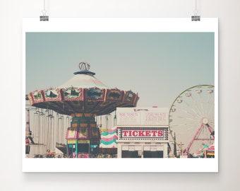 Bakersfield County Fair print, ferris wheel photograph, California print, carnival decor, Nursery wall art