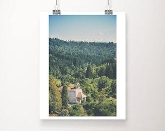 Slovenia photograph, church photograph, large wall art, vertical Slovenia print, Europe architecture print, travel photography