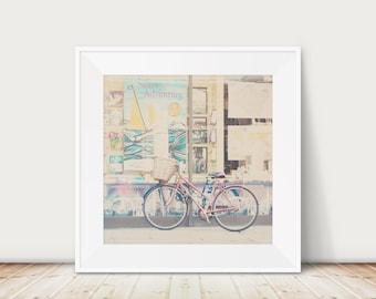 Cambridge print, pink bicycle photograph, travel photography, book shop print, wanderlust art, adventure print