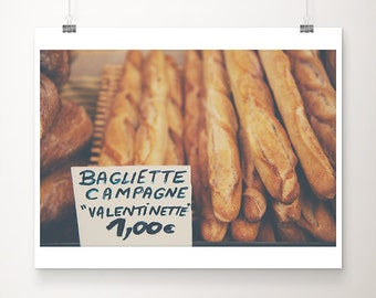 french bread photograph, kitchen wall art, food photograph, baguette print, large wall art, farmhouse decor