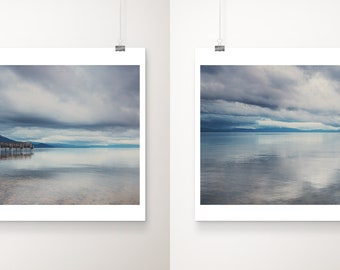 Lake Tahoe print set, wilderness print, gallery wall, California wall art, boat photograph, storm clouds print, mountains photograph