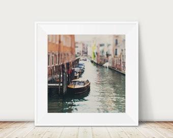 venice photograph, Venice boat print, square Venice decor, Venice print, travel photography, Venice canal photograph, red green decor