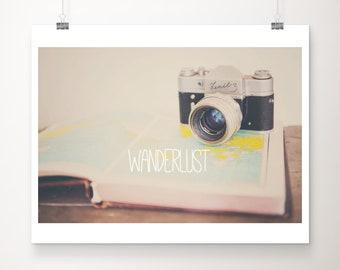 SALE wanderlust wall art, vintage camera art, world atlas print, travel photography, adventure art, typography print, 14x11 discounted art