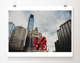 Philadelphia print, Philadelphia love sign photograph, downtown Philly photograph, Philly architecture print, Philadelphia decor