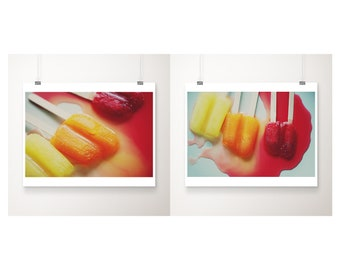 popsicles print set, kitchen wall art, food photography, ice pop photograph, nursery wall art, pop art, red decor, vibrant art