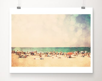 retro beach photograph, ocean print, beach umbrella photograph, beach house decor, tropical decor, mediterranean print