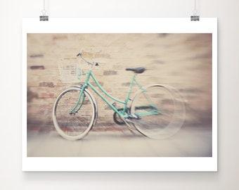mint bicycle photograph, green bicycle print, bike photograph, Cambridge photograph, travel photography, wanderlust art, surreal art
