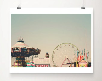 SALE carnival photography, ferris wheel photograph, Bakersfield county fair, California photography, pastel decor, Nursery wall art