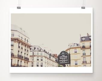 Paris photography, Paris rooftops print, Place Sartre Beauvoir, large wall art, cream Paris decor, neutral decor, wanderlust art