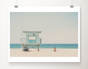 Santa Monica beach photograph, California Pacific Ocean print, lifeguard tower wall art, minimalist decor, surreal print, mint green decor