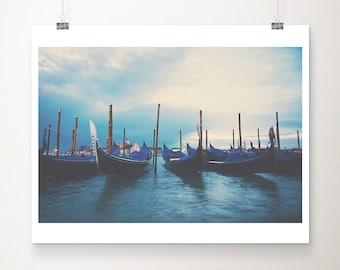 Venice gondola sunrise photograph, Venice print, Italy wall art, Venice decor, wanderlust art