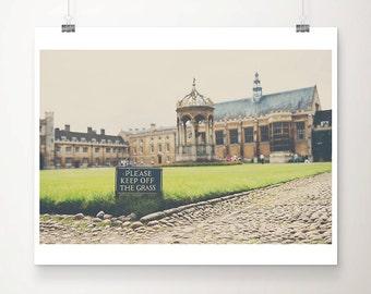 Cambridge university photograph, trinity college print, Cambridge photograph, English architecture print, Keep off the Grass art