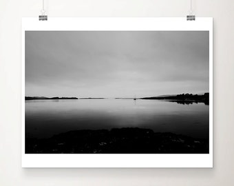 black and white Loch Etive print, Scotland travel photography, long exposure landscape photograph, boat wall art