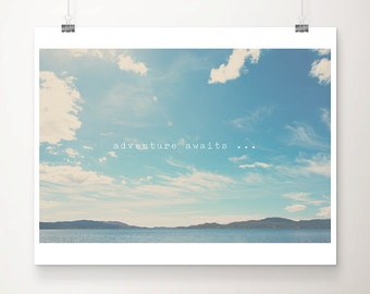 Adventure awaits you typography print, Scottish mountains photograph, inspirational quote print