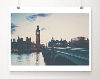 London print, Big Ben photograph, Westminster print, London decor, Houses of Parliament print, travel photography, Red London bus print