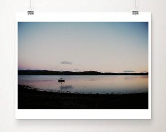 Scottish Loch sunset photograph, boat print, landscape photograph, large wall art