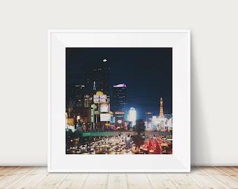 Las Vegas photograph, Las Vegas strip print, Las Vegas night photograph, urban decor, city print, Nevada photograph, Americana decor