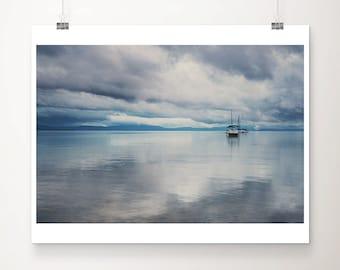 Lake Tahoe sunrise photograph, boat print, California mountains wall art, nautical decor
