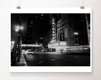 black and white downtown Chicago photograph, Chicago theatre print, Chicago architecture photograph, urban print, midwest decor