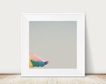 beach photograph, beach umbrella print, California photograph, Santa Monica print, mint green decor, tropical decor, square beach print