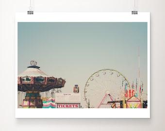 carnival photograph, ferris wheel print, Bakersfield county fair photograph, California photograph, pastel wall art, Nursery decor