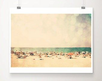 beach photograph ocean photograph retro beach print beach umbrella photograph beach house decor ocean print