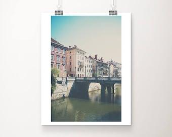 Ljubljana photograph, Slovenia photograph, travel photography, Cobblers Bridge photograph, architecture print, vertical Slovenia print