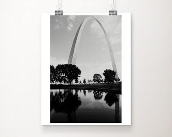 black and white St Louis photograph, Gateway arch print, Missouri print, urban decor, Midwest decor, architecture print