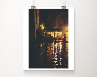Venice photograph, Venice canal print, vertical Venice decor, Grand Canal photograph, Rialto Bridge print, Venice at night photograph