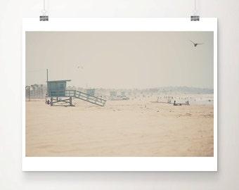 California beach photography, Santa Monica print, Lifeguard Tower print, Bird photograph, West Coast decor
