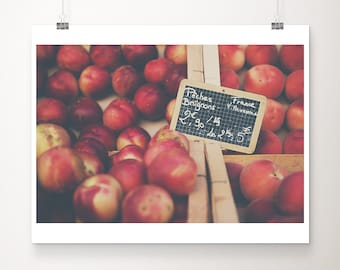 peach photograph, food photography, fruit print, French Market decor, large wall art, farmhouse decor