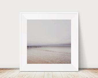 ocean photograph, Norfolk beach photograph, large wall art, pastel home decor, ocean sunrise print, square beach print, minimalist decor