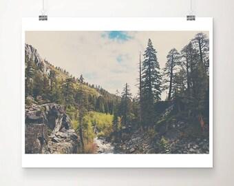 Lake Tahoe photograph, mountains photograph, California print, wilderness art, Eagle Falls print, wanderlust art