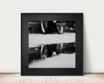black and white bicycle photograph, bicycle reflection print, abstract art, bike print, Cambridge photograph, square print