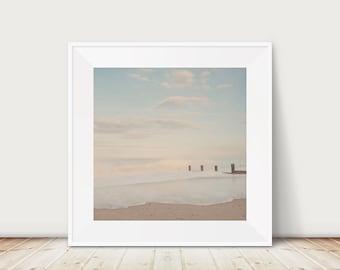 beach photography, coastal print, ocean photograph, beach house decor, square beach print, Norfolk photograph, English decor
